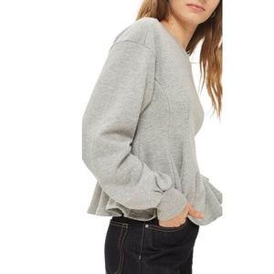 TOPSHOP Corset Seam Peplum Gray Sweatshirt Size 8